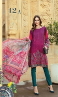 Printed and embroidered front 1.25m Printed back 1.25m Printed sleeves 0.65m Embroidered sleeve patti 1m Printed trouser 2m Chiffon printed dupatta 2.5m