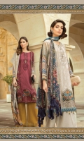 Printed and embroidered center panel 1piece Printed and embroidered side panel 2pieces Printed back 1.25m Printed sleeves 0.65m Embroidered ghera patch 1piece Embroidered ghera patti 1m Dyed trouser 2m Silk printed dupatta 2.5m