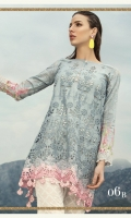 Schiffli embroidered front 1.25m Printed back 1.25m Printed sleeves 0.65m Embroidered ghera patti 1m Embroidered sleeve patti 1m Silk printed dupatta 2.5m Printed trouser 2m Swarovski buttons