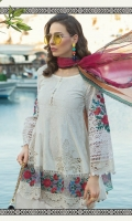 Printed front 1.25m Printed back 1.25m Schiffli embroidered sleeves 0.67m Embroidered ghera patch 2pcs Embroidered ghera patti 1m Embroidered sleeve patch 2pieces Embroidered ghera and sleeve patti 2m Printed trouser 2m Chiffon printed dupatta 2.5m Swarovski buttons