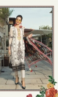 Printed front 1.25m Printed back 1.25m Chiffon embroidered sleeves 0.67m Embroidered neckline 1piece Embroidered sleeve patti 1m Dyed trouser 2m Chiffon printed dupatta 2.5m