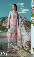 Printed front 1.25m Printed back 1.25m Printed sleeves 0.65m Schiffli embroidered panel 1piece Embroidered ghera patti 1m Embroidered sleeve patti 1 m Embroidered trouser 2m Embroidered trouser patch 2pieces Silk printed dupatta 2.5m Swarovski buttons