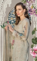 Embroidered front 1.25m Printed back 1.25m Printed sleeves 0.65m Printed ghera patti 1piece Embroidered sleeve patch 2pieces Dyed trouser 2m Silk printed dupatta 2.5m