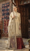 Printed front 1.25m Printed back 1.25m Printed sleeves 0.65m Embroidered neckline 1piece Embroidered ghera patti I 1m Embroidered ghera patti II 1 m Embroidered sleeve patti 1m Organza embroidered dupatta 2.66m Embroidered dupatta patti 9m Printed trouser 2m