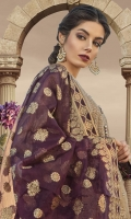 """Embroidered center panel 1piece Embroidered side panel 26"""" Printed back 1.25m Printed sleeves 0.65m Embroidered ghera patti 1m Embroidered sleeve patch 2 pieces Embroidered sleeve patti 1m Schiffli embroidered trouser 2m Organza jacquard dupatta 2.5m Swarovski buttons"""