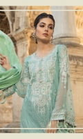 Printed front 1.25m Printed back 1.25m Chiffon embroidered sleeves 0.67m Embroidered neckline 1piece Embroidered ghera patti 1m Jacquard dupatta 2.5m Printed trouser 2m