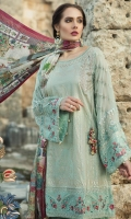 Printed front 1.25m Printed back 1.25m Chiffon embroidered sleeves 0.67m Embroidered neckline 1piece Embroidered neckline patti 1m Embroidered ghera and sleeve patti 2m Printed trouser 2m Silk printed dupatta 2.5m