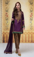 3 piece Raw silk fully embroidered kurta finished with stones Tissue pants Net dupatta