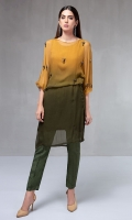 2 Piece Shaded chiffon fusing shirt with pearl and sequin embellishments Raw silk trouser Silk undershirt