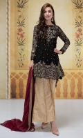 3 piece Shirt trouser and dupatta Chiffon fully embroidered frock Fully Embellished shirt front Jacquard sharara pants Chiffon embroidered dupatta