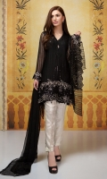 3 Piece Shirt, trouser and dupatta Chiffon embroidered shirt with loose cut sleeves Raw silk pants Chiffon dupatta