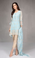 3 piece Shirt , dupatta and trouser Chiffon embroidered shirt Raw silk pants Chiffon embroidered dupatta