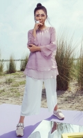 1 Piece Lylic double layer chiffon tunic with embellished neckline, front pearl spray and under shirt