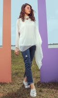 Asymmetrical white tunic with pearl details on collar and sleeves with undershirt