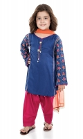 3 piece Shirt, shalwar and dupatta Blue self- printed linen shirt with full embroidered sleeves Pink cambric shalwar with orange chiffon dupatta Embellished with pearls and buttons