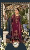 Embellished velvet neckline  Embroidered chiffon centre panel  Embroidered chiffon side panel  Embroidered chiffon back  Embroidered chiffon sleeves  Embroidered grip panel patti  Embroidered velvet gherapatti for front  Embroidered velvet gherapatti for back  Embroidered velvet sleeve patti I  Embroidered velvet sleeve patti II  Embroidred tissue sleeve patti  Hand woven khaadidupatta  Embroidered velvet dupattapatti Jacquard trouser  Embroidered tissue trouser patti Grip undershirt  Swarovski buttons