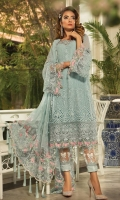 Embellished neckline  Schiffli embroidered chiffon front  Schiffli embroidered chiffon back Schiffli embroidered chiffon sleeves  Embroidered organza gherapatti for front  Embroidered organza gherapatti for back  Embroidered organza sleeve patti with 3D butterflies Embroidered chiffon dupatta  Embroidered organza dupattapallu  Embroidered organza dupatta side lace  Jacquard trouser  Embroidered organza trouser patti  Grip undershirt