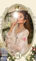 Pure organza embroidered panel  Pure organza embroidered spray fabric  Embroidered chiffon sleeves I  Embroidered chiffon sleeves II Embroidered organza ghera lace Embroidered panel patti  Schifflighera lace front with pearls  Schifflighera lace back and sleeves  Schiffli panel lace  Embroidered chiffon dupatta  Embroidered dupattapallu  Embroidered dupatta allover lace Jacquard trouser  Grip undershirt  3D flowerschffli sleeve lace