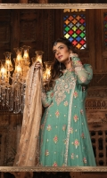 Diamante embroidered chiffon front  Diamante embroidered chiffon sleeves Embroidered chiffon back Embroidered velvet neckline Embroidered organza ghera lace Embroidered velvet ghera lace Embroidered organza sleeve patch Embroidered velvet sleeve patti Embroidered hand woven zari net dupatta Embroidered velvet dupatta pallu Embroidered velvet dupatta lace Embroidered panel patti Jacquard trouser Grip undershirt Swarovski buttons