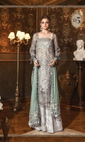 Embroidered and hand embellished zari net front Plain zari net back Embroidered zari net sleeves Plain organza for sleeves Embroidered organza ghera patch Embroidered net dupatta Embroidered organza pallu patti Embroidered tissue bodice Tissue undershirt Jacuard Trouser