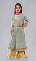 Shirt fabric: Zari cotton net Trouser fabric: Tissue Dupatta fabric: Chiffon Zari cotton net embroidered long frock embroidered sleeves with tissue dhaka pajama and Chiffon dupatta.