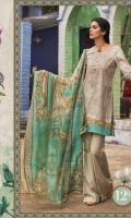 3Piece  Printed shirt 3.15m Dyed cambric trouser 2m Printed silk dupatta 2.5m Embroidered neckline 1piece