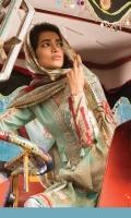 2Piece Printed shirt 3.15m  Printed silk dupatta 2.5m  Embroidered neckline patti 1m Embroidered neck motif 1 piece