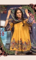 3Piece Embroidered front 1.25m  Printed back 1.25m Printed sleeves 0.65m Dyed cambric trouser 2m  Printed silk dupatta 2.5m
