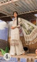 3 Piece  Printed shirt 3.15m Dyed trouser 2m Printed silk dupatta 2.5m Embroidered neckline patti 1m Embroidered ghera patti 1m