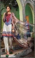 2Piece  Printed shirt 3.15m  Printed chiffon dupatta 2.5m Embroidered neckline 1piece
