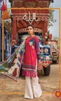 3 Piece  Printed shirt 3.15m Dyed trouser 2m Printed chiffon dupatta 2.5m Embroidered patch 1 piece  Embroidered sleeve patti 1m