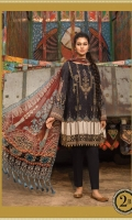 2 Piece  Printed shirt 3.15m Printed chiffon dupatta 2.5m Embroidered ghera patti 1m