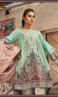 2 Piece  Printed shirt 3.15m Printed chiffon dupatta 2.5m Embroidered neckline 1piece Embroidered ghera patti 1m