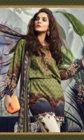 Printed khaddar shirt Printed chiffon dupatta Dyed cambric trouser printed trouser patti Embroidered neckline