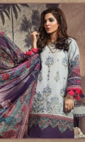 Embroidered printed front Printed back and sleeves Printed chiffon dupatta Dyed cambric trouser