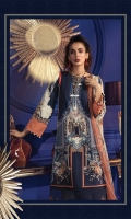 Printed khaddar shirt Printed chiffon dupatta Embroidered velvet ghera patti Embroidered organza ghera patti