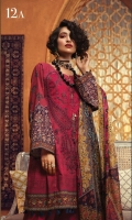 Printed khaddar shirt Printed silk dupatta Dyed cambric trouser Embroidered neckline