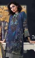 Printed linen shirt Printed silk dupatta Dyed cambric trouser Embroidered velvet neckline