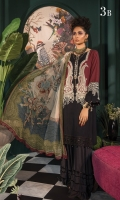 Printed linen shirt Printed chiffon dupatta Dyed cambric trouser embroidered neckline patti Embroidered ghera patti