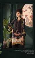 Printed linen shirt Printed chiffon dupatta Dyed cambric trouser Embroidered velvet neckline patti Embroidered neckline
