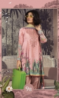 Printed karandi shirt Printed chiffon dupatta Printed cambric trouser Embroidered neckline