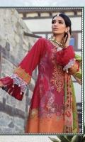 Printed lawn shirt  Printed chiffon dupatta  Dyed cambric trouser  Neckline 1piece