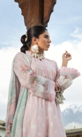 Schiffli lawn front  Printed lawn back  Printed sleeve motif 2pieces Lawn schiffli sleeves  Printed chiffon dupatta  Dyed cambric trouser  Embroidered sleeve lace