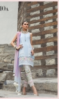 Printed lawn shirt  Printed sleeves Printed chiffon dupatta Printed cambric trouser Embroidered ghera patti Embroidered sleeve patti Schiffli sleeve patti