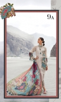 Printed lawn shirt  Printed silk dupatta Dyed cambric trouser  Embroidered ghera motif Embroidered trouser patti