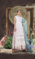 Printed lawn shirt  Printed chiffon dupatta Dyed cambric trouser Schiffli embroidered patti  embroidered ghera patti  Embroidered trouser patti