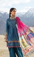 Printed lawn shirt  Printed silk dupatta  Dyed cambric trouser  Embroidered neckline patti Embroidered ghera patti