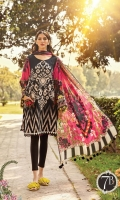 Printed lawn shirt Cambric trouser Printed silk dupatta Embroidered patches