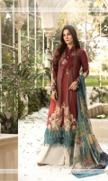 Printed lawn shirt Cambric trouser Chiffon printed dupatta Embroidered neckline Embroidered ghera patti