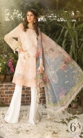 Printed lawn shirt Cambric trouser Printed chiffon dupatta Embroidered neckline Embroidered trouser patch